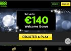 888 Casino Review £100 Bonus on Sign-up screen