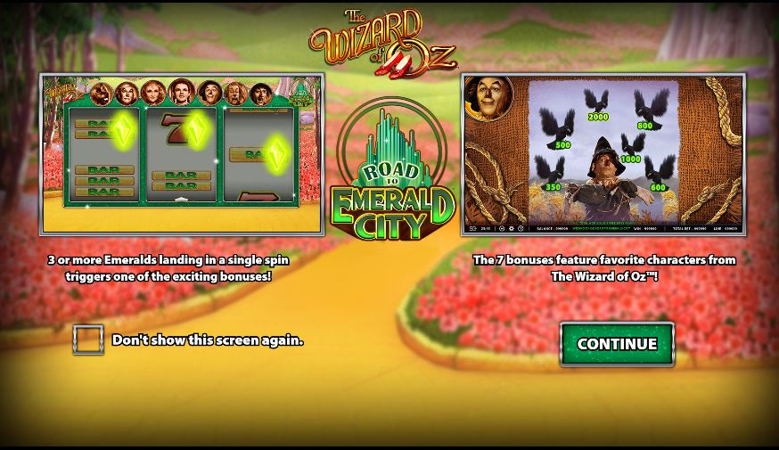 wizard of oz slot in-game view