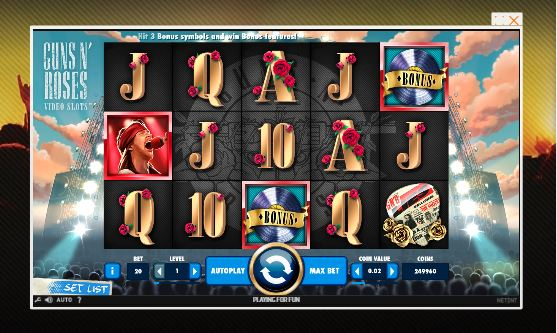 guns n' roses slot in-game view